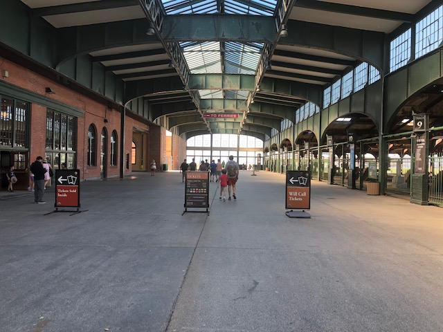 Entering the train station from the outside