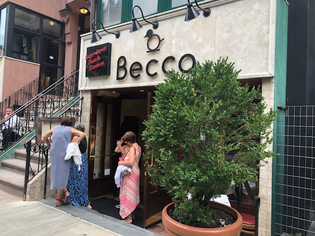 Outside of the restaurant, Becco