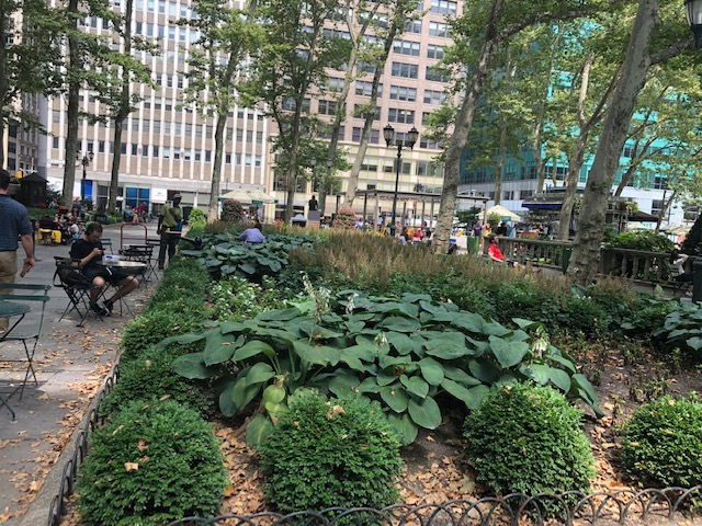 Gardens on the side of Bryant Park