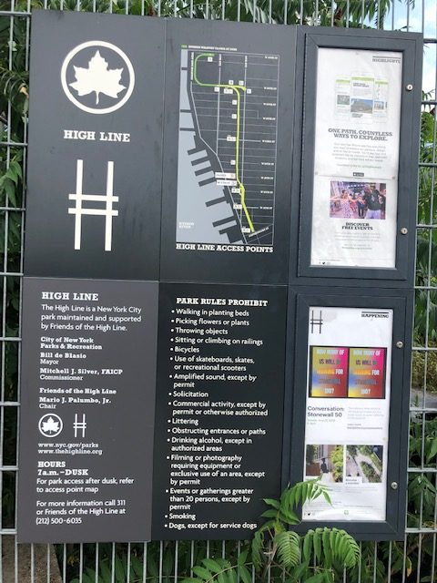 Sign split into 6 sections, providing a map and other details about the High Line