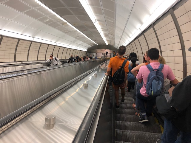 very high escalator at 34th Street station