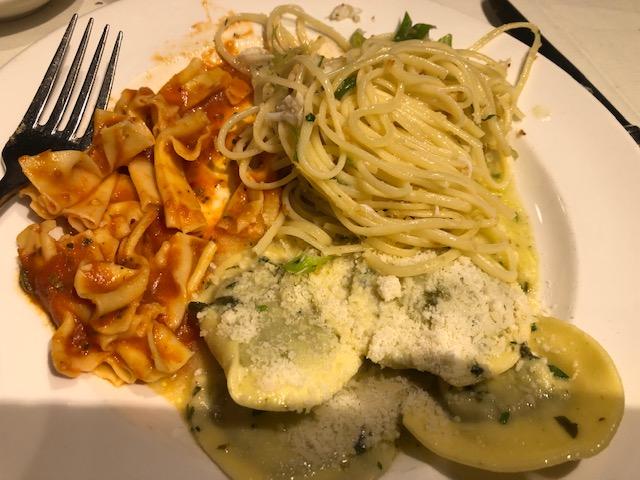 3 pastas: bowtie in a spicy marinara; kale ravioli, crab linguine