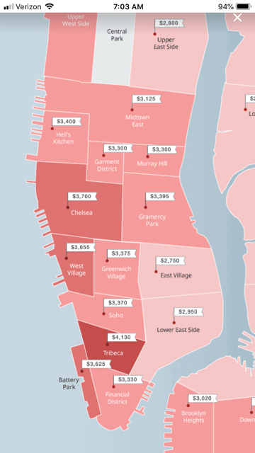 Map of Manhattan showing rents for each neighborhood