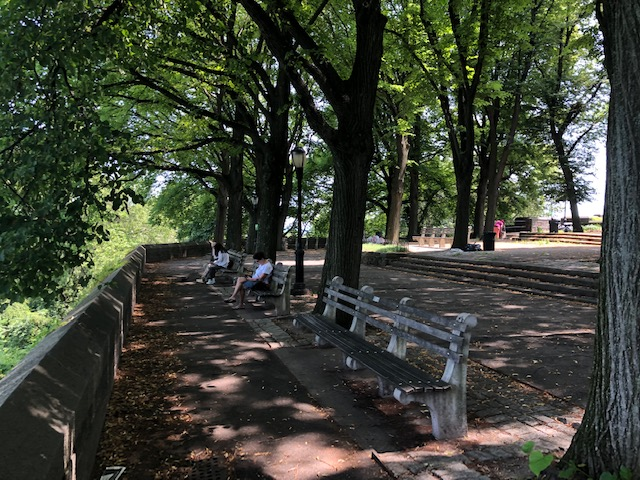 Park benches set to look out over the Hudson River Valley with trees all around