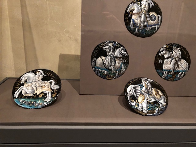 Plates, painted and partially gilded enamel on copper