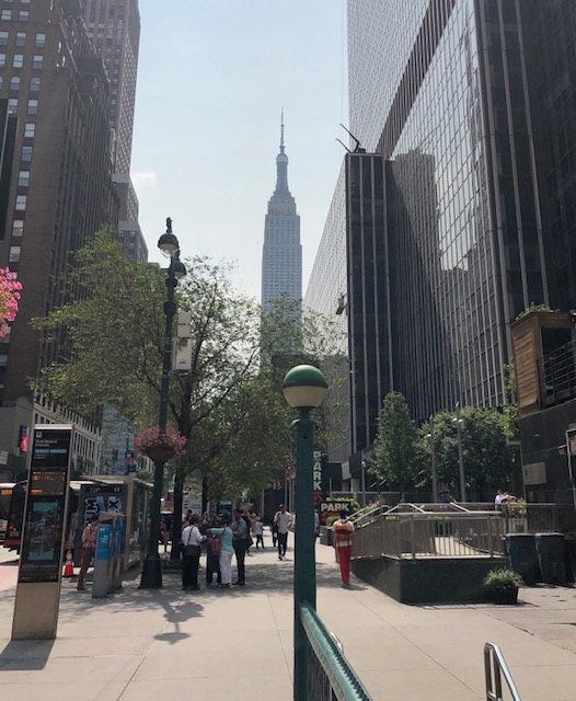 Empire State Building in the background, tall buildings on either side in the foreground