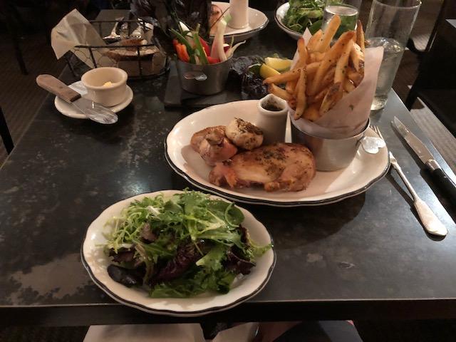 rotisserie chicken, fries, salad