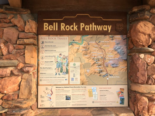 Sign says Bell Rock Pathway, includes all the trails you can reach from here