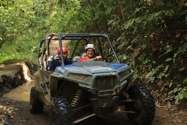 Making it to the other side of the water in the ATV