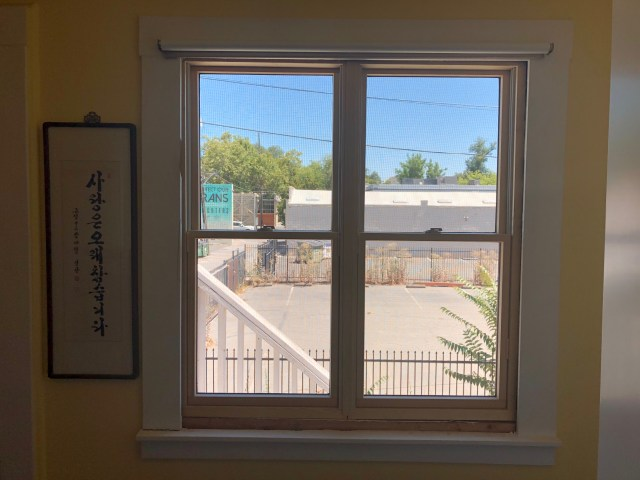 new window on the east side - one window with 4 panes, actually two windows side by side but looks like one