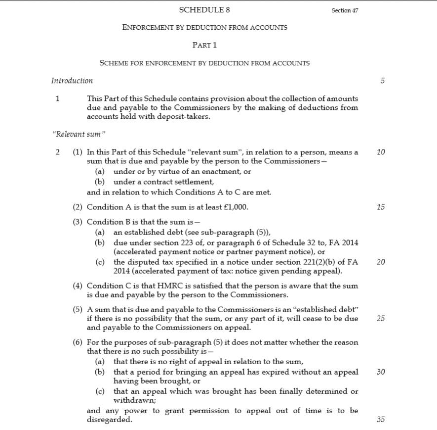 Schedule 8 HMRC Debt Collection