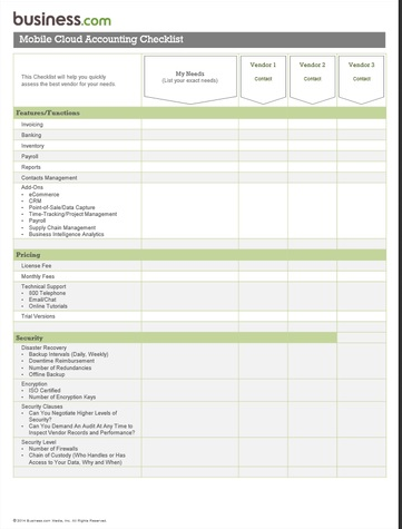 Cloud Checklist