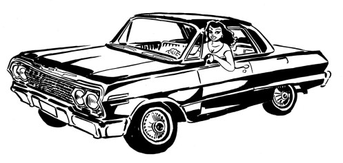 """'63 Chevy Impala, frontspiece art for """"El Vocho"""" graphic novel."""