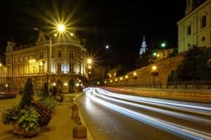 street, lit, city