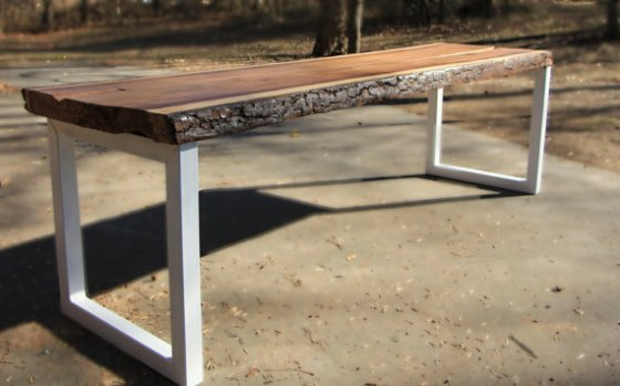 2nd story wood slab dining table