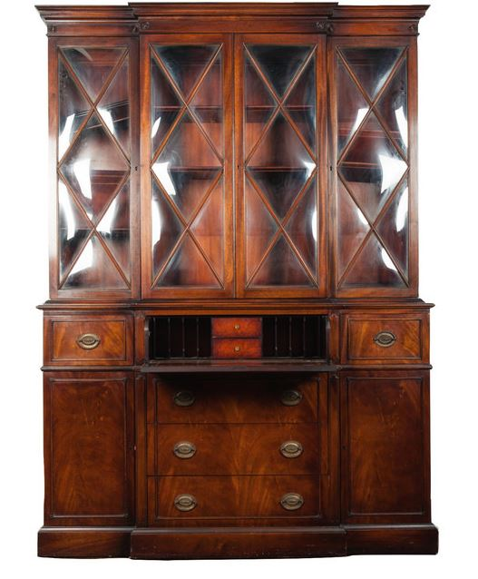 Whitney's Great Aunt Kate's vintage flame mahogany breakfront.
