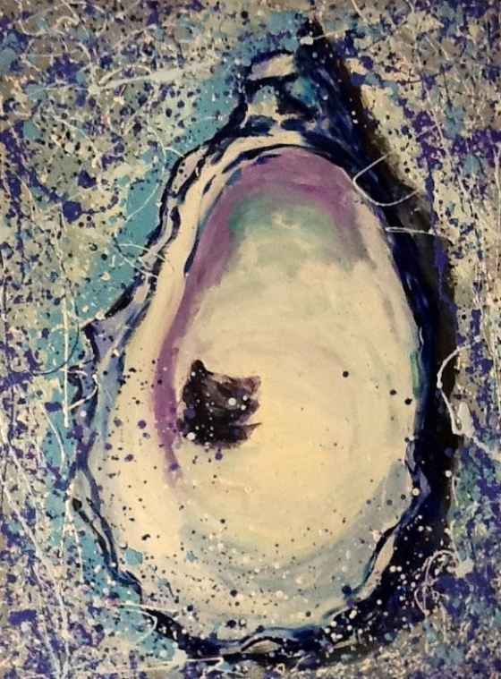 Oyster painting by artist Cathie Parmelee