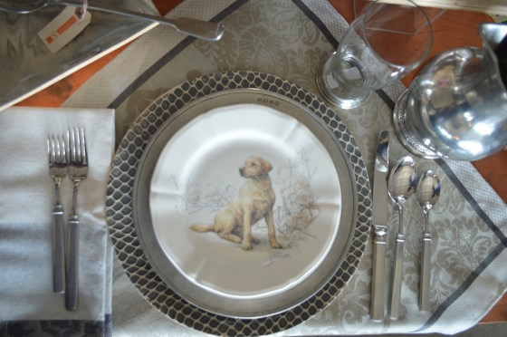 table setting, pewter, Gien