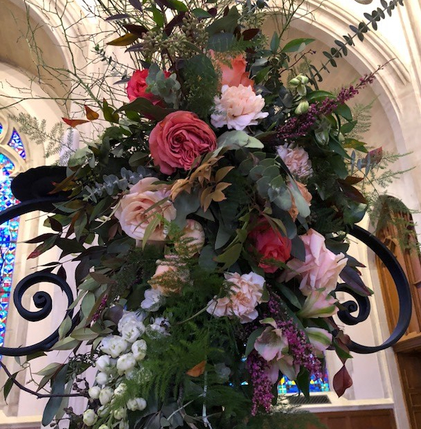 floral, roses, bridal, cathedral