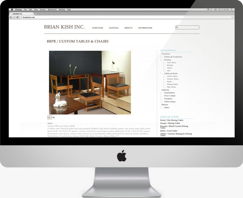 Brian Kish - Italian Design Dealer Website: Single Page