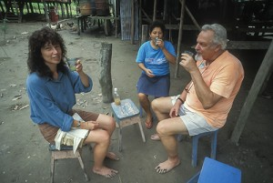 Amanda McQuade and Jim Duke enjoying rum and ginger juice along the Amazon.