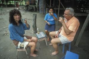 Amanda McQuade and Jim Duke enjoying rum and ginger juice along the Amazon.