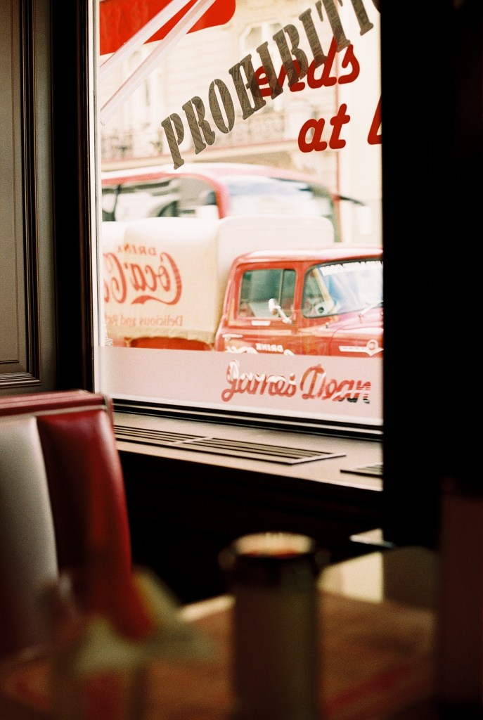 Analogue photo of the window from inside James Dean Prague