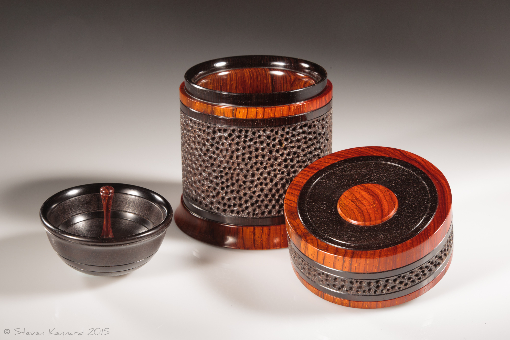 Celebration 3 open, showing tray -  African blackwood, cocobolo  Height: 4″ Diameter: 3 3/8″– $1950 contact me for purchase information Steven Kennard Open showing tray and interior – Steven Kennard