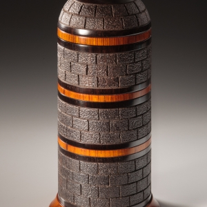 Tower Box 3 - African blackwood, cocobolo and thuya root burl. Approximately 3 3/4″ in diameter and 7.5″ high. $2600 - contact for purchase information Steven Kennard