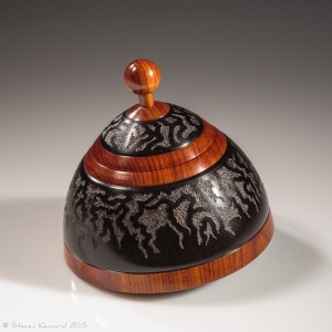 Lacy Sputnik 2 box - African blackwood and cocobolo. Approximately 3.25″ in diameter and 3″ high – $1200 Steven Kennard