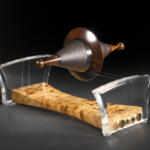 """""""Wired"""" African Blackwood, Poplar Burl, and Cocobolo with mother of pearl, perspex and guitar strings $2100 - contact me for purchase information - Steven Kennard"""