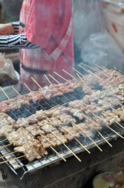 Pork Satay. Unlike the US they don't typically use beef or chicken....only flavorful pork.