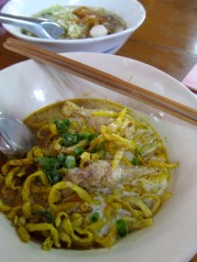 Kao Soi or curried noodles, this famous dish is popular with all my friends. This dish might be Burmese influenced.