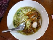 Noodles in soup. Chinese influened dish.