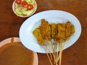 Moo Satay or pork satay. Unlike in the U.S. this is a pork dish. There's no chicken or beef. Remember only pork so if you're a purist you know how to order this.