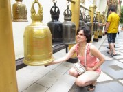 Bells ring the temple grounds. I believe it's auspicious if one rings all the bells. Correct me if I'm wrong.