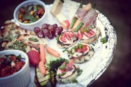 SMP Catering catered Quintana and Michael's beautiful outside summer wedding. Featured Appetizers: Ahi Tuna Poke, Broiled Scallops with Parmesan Cheese on Polenta Square, Pickled Beets with Balsamic Reduction, Candied Walnuts, Grapefruit, Tangelo & Feta, Potato Cake with Sauteed Kale and Garlic and Spicy Remoulade and Cherry Tomatoes Tossed in Olive Oil and Green Onions, Prosciutto Wrapped Cantaloupe with Asparagus and Basil Oil, Tomato,Sun-Dried Tomato, Garlic, Feta & Basil Bruschetta on Crostini, Cheese Platter with Apricot Fig Compote and Cherry Cabernet Reduction Spread Main Course: Mixed Greens Salad with Marinated Fennel, Segmented Citrus Fruit, Feta and Strawberry Vinaigrette Herbed Chicken in White Wine Reduction, New York Steak iwth Cabernet Cherry Reduction Roasted Fingerling Potatoes, Hericot Vert, Baby Carrots and Baby Bok Choy