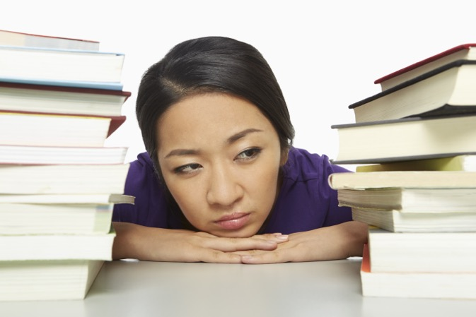 Bored Woman with Books 3