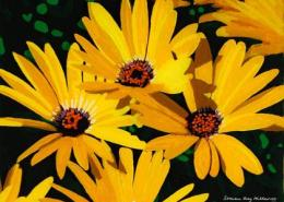 Black eyed Susans original 3-D acrylic painting on glass by Steven Ray Miller Durham NC artist
