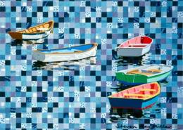 boats and squares original mixed media gouache and cut paper by Steven Ray Miller Durham NC artist