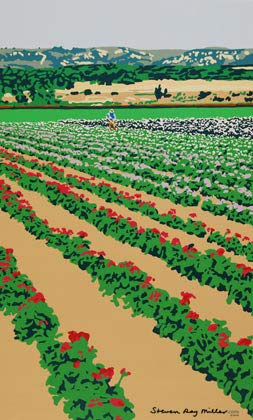 California Flower Fields limited edition serigraph silkscreen by Steven Ray Miller Durham NC artist