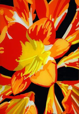 Day Lilies original 3-D acrylic painting on glass by Steven Ray Miller Durham NC artist
