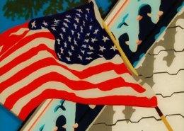 Flag Flying at Oak Bluffs Marthas Vineyard original 3-D acrylic painting on glass by Steven Ray Miller Durham NC artist