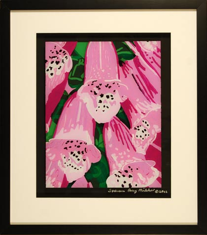 Foxglove original 3-D acrylic painting on glass by Steven Ray Miller Durham NC artist