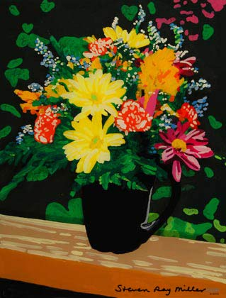Joyful Bouquet original 3-D acrylic painting on glass by Steven Ray Miller Durham NC artist