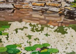 Reflections of Duke Gardens limited edition lithograph by Steven Ray Miller Durham NC artist