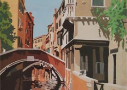 Venetian Bridge limited edition lithograph by Steven Ray Miller Durham NC artist
