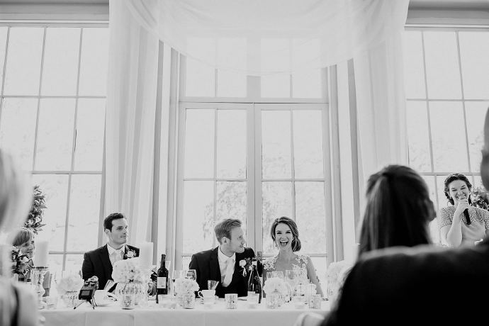 bride and groom, best man, maid of honour at the top table