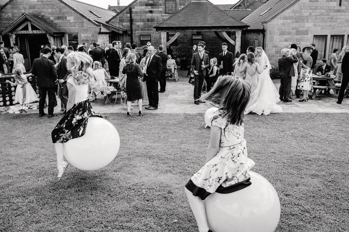 space hoppers at the wedding reception