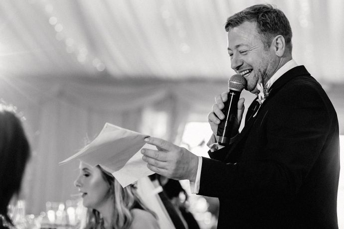 photograph of the father of the bride doing a speech